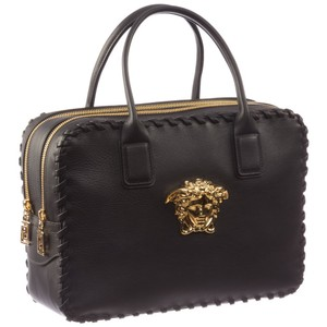 Versace Calfskin Leather Luxury Brand New Tote in Black / Gold (Nero / Oro Caldo)