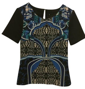 Laundry by Shelli Segal Top black blue and green