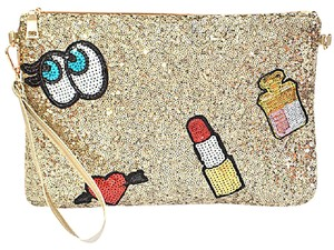 Gold Sequin Clutch with Patches Patchwork Patch Gold, red, white, blue, pink Clutch