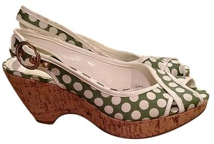 Franco Sarto White and green Wedges