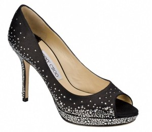 Jimmy Choo Crystal Jewel Platform Dali Peep Toe Black Pumps