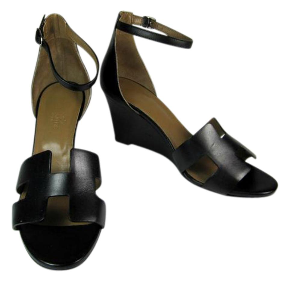 b151e02145e0 Hermès Oran - Black Leather Heels Sz  M Wedge Sandals Size US 7.5 ...