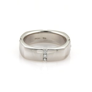 Hearts on Fire Men's Duets Linear Square Diamond 18k White Gold Band Ring