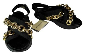 Burberry Leather Black Gold Chain Runway Sandals