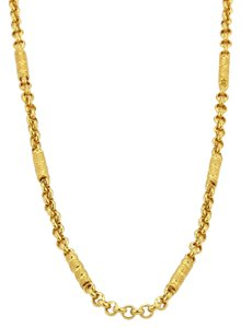 Modern Vintage 24k Solid Gold Fancy Textured Long Bar Rolo Link Chain Necklace
