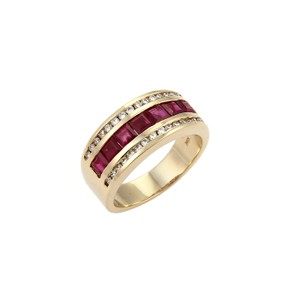 Modern Vintage #19114 Estate Ruby & Diamond Fancy 14k Yellow Gold Band Ring