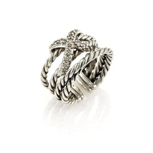 David Yurman David Yurman Sterling Silver & Diamonds 4 Rows Cable X Design Ring
