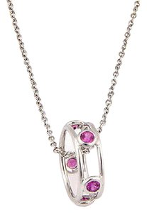 Tiffany & Co. Peretti 18K White Gold Color By The Yard Pink Sapphire Pendant Necklac