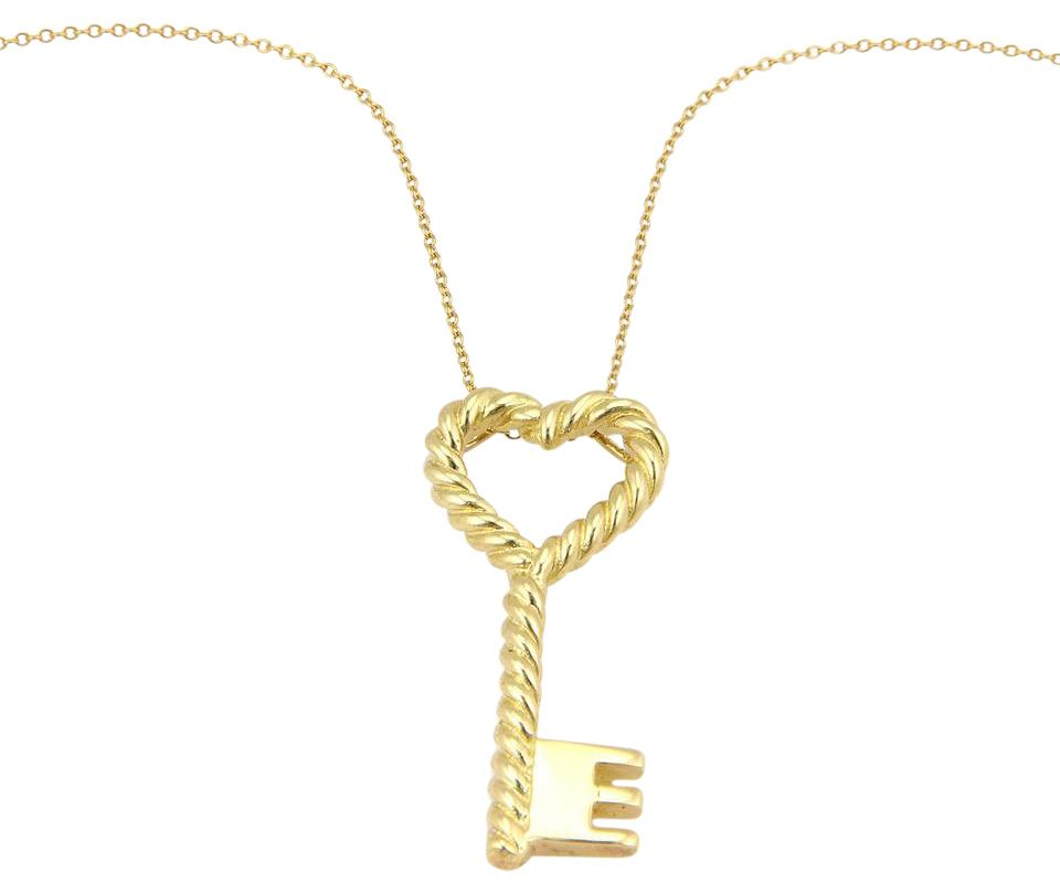 Tiffany co yellow gold italy cable heart key pendant necklace italy 18k yellow gold cable heart key pendant aloadofball Image collections