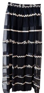Temperley London Metallic Tulle Embroidery Temperley Skirt Black