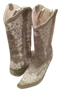 Corral Boots Corral Western Snip Toe Corral Vintage Brown/Tan with White Embroidery Boots