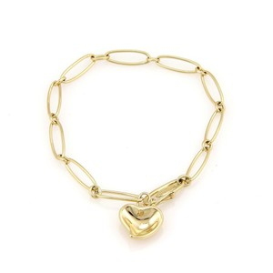 Tiffany & Co. Peretti 18K Yellow Gold Curved Heart Chain Bracelet w/Pouch
