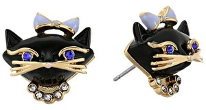 Kate Spade kate spade new york Jazz Things Up Black Cat Stud Earrings 12k Gold