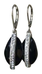 Nordstrom Black Crystal Snap Hook Earrings