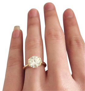 Diamond Ring 2.80 ct with 18kt yellow gold round diamond ring 2.80 ct GIA