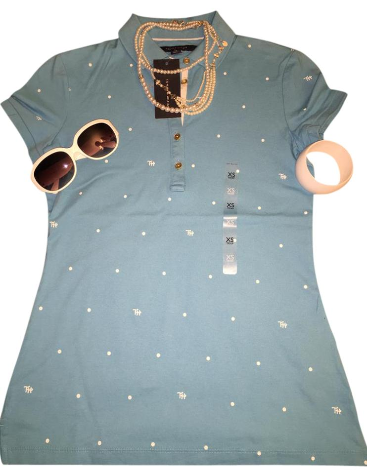 97302865 Tommy Hilfiger Turquoise with White Bottom Down Tee Shirt Size 2 (XS ...
