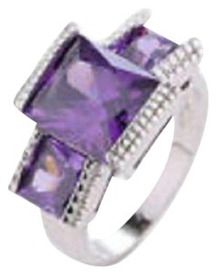 Other Purple Cubic Zerconia Stone on a Sterling Silver Band, Size 8