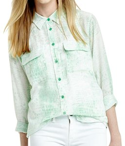 Equipment Button Down Silk Top Mint Green Snake Print