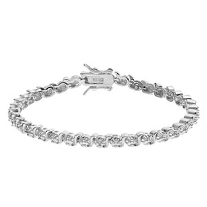 Silver tone Silver tone circle & twist link plated brass tennis bracelet