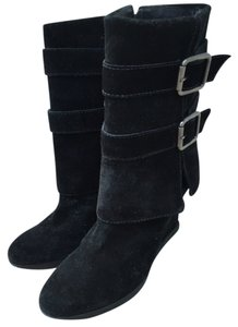 Juicy Couture Suede Buckles Black Boots