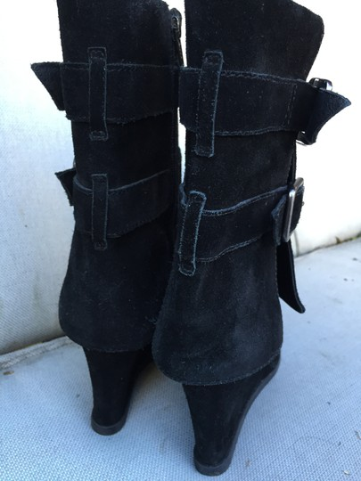 Juicy Couture Suede Buckles Mid Calf Foldover Rubber Soles Wedge Black Boots