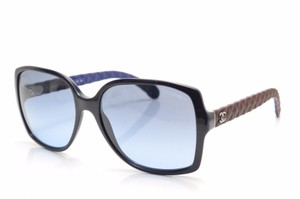 Chanel CHANEL 5289Q BLUE/BROWN LEATHER QUILT Rectangular Sunglasses