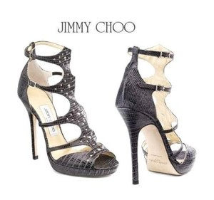 Jimmy Choo Platform Mostyn Lizard Gladiator Charcoal Grey Sandals