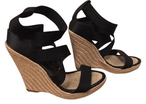 Jean-Michel Cazabat Espadrille Elastic Black and Nude Wedges
