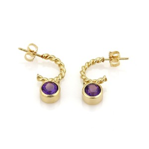 Tiffany & Co. 2ct Amethyst Dangle Charm 18k Yellow Gold Wire Hoop Earrings