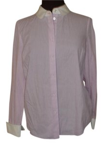Kate Spade Striped Lavender White Cotton Collar French Cuff Button Down Shirt Lavender Stripes