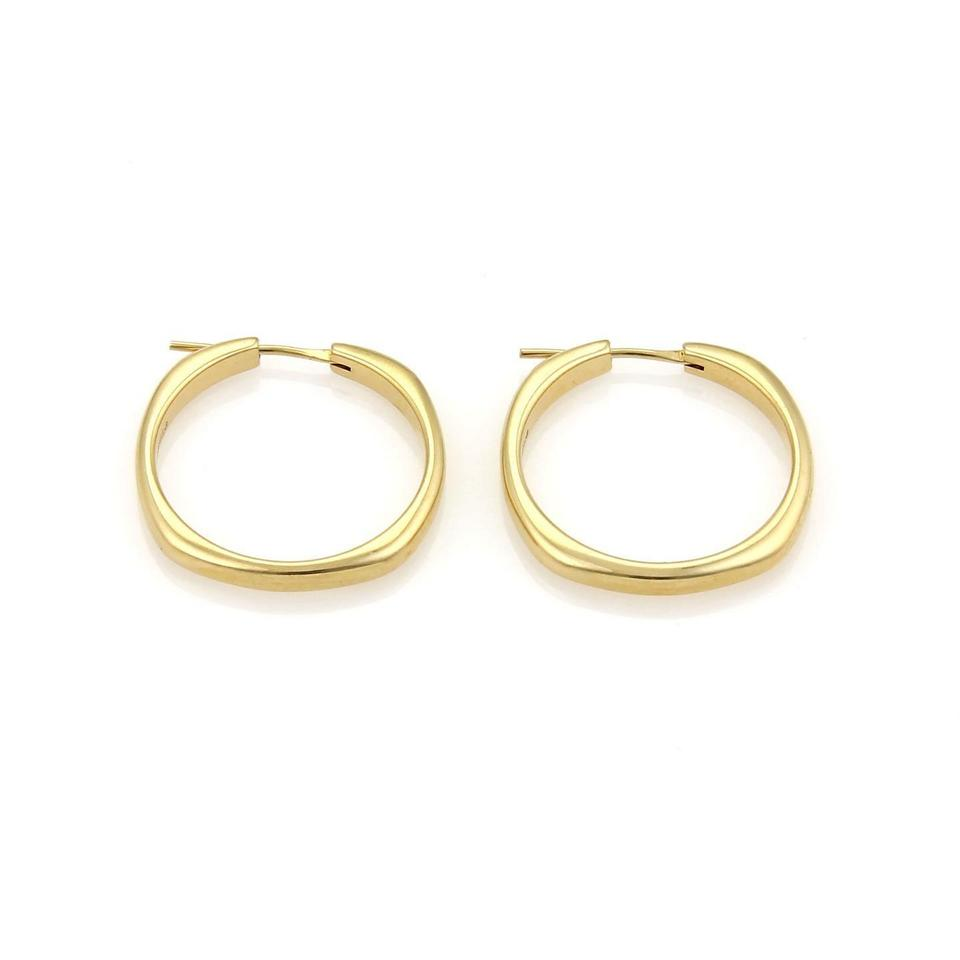 Tiffany Co 18k Yellow Gold Cushion Shape 3mm Wide Hoop Earrings