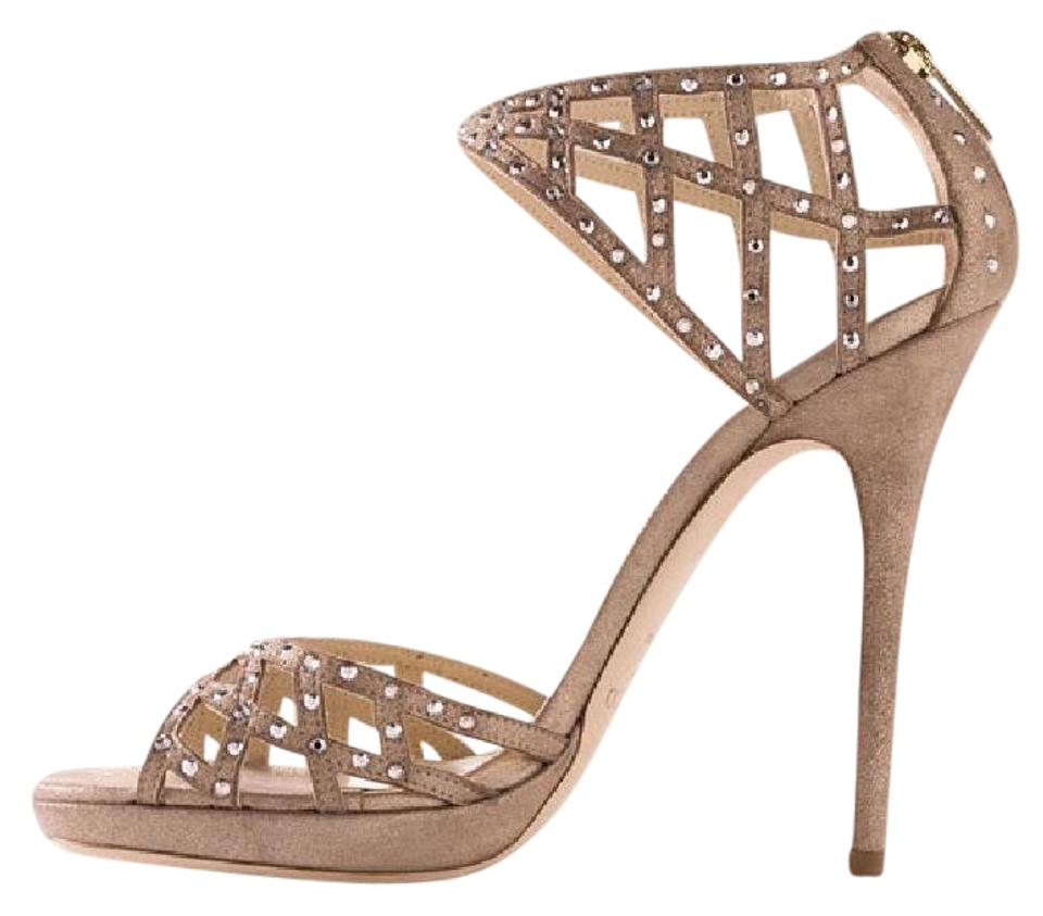 0a48d60c2 Jimmy Choo Nude Emerald Suede Crystal Jeweled Platform D'orsay Heels Sandals