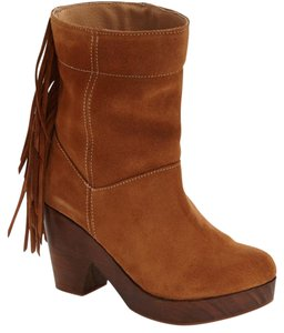 FreeBird Brown Fringed Clog Bootie Boots