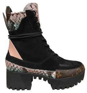Louis Vuitton Pokerface Checkpoint Combat Python Snakeskin black Boots