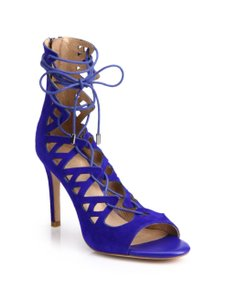 Joie Lace-up Sandals Suede Ties At Ankle Blue Boots