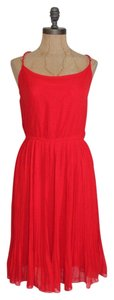 Anthropologie short dress RED Braided Straps Pleated on Tradesy