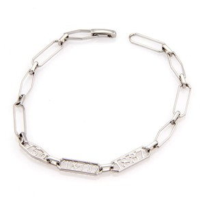 Tiffany & Co. 1837 Collection 18k White Gold Oval Chain Link Bracelet