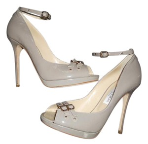 Jimmy Choo Platform Katy Patent Leather Open Toe Ankle Strap Grey Pumps