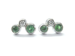 Tiffany & Co. Tiffany & Co Platinum Green Tourmaline Diamond Bubble Earrings .56CT