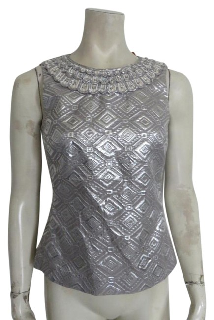 Preload https://img-static.tradesy.com/item/21067147/tory-burch-silver-brocade-beaded-neckline-worn-once-blouse-size-2-xs-0-1-650-650.jpg