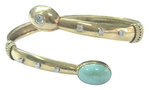 Other Fine Vintage Turquoise Diamond Bypass Yellow Gold Bangle Bracelet 14KT