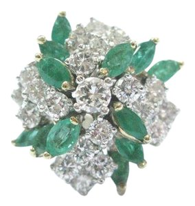 Other Fine Gem Green Emerald Diamond White Gold Cocktail Ring 14KT 3.00Ct