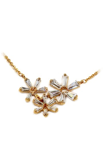 Ocean Fashion Simple flowers crystal gold necklace