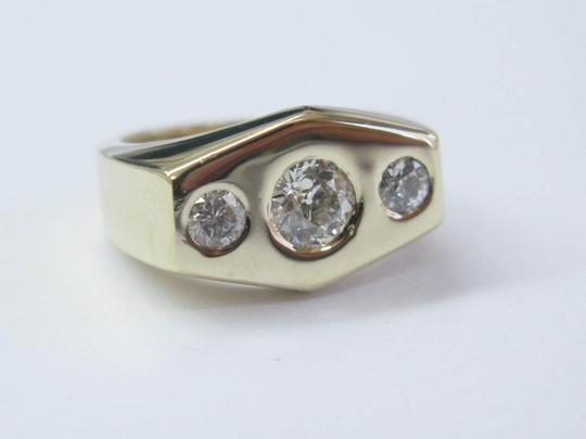 Other Fine Old European Cut Diamond 3-Stone Diamond Yellow Gold Ring .90CT