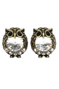 Ocean Fashion Mini cute Vintage Gold owl crystal earrings