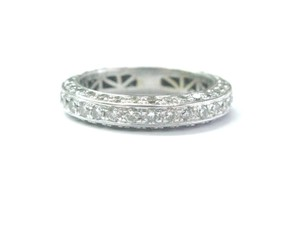 Other 18Kt Round Cut Diamond Milgrain Eternity Band Ring WG 1.75Ct Sz 6.5