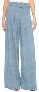 Alice + Olivia High Waist Chambray Denim Vintage Inspired Wide Leg Pants Chambray Blue