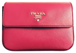 Prada PriceDrop.Saffiano Pink iPhone Clutch/Leather Wallet