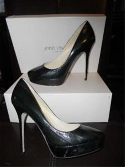 Jimmy Choo Platform Heels Eel Cosmic Forest Green Pumps