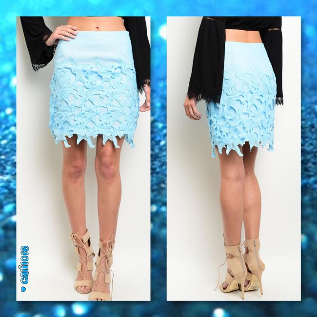 Other Crochet Feminine Embroidery Spring Easter Mini Skirt Sky Blue